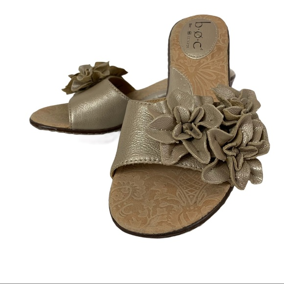 Boc wedge mule 7 leather open toe metallic